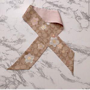 Coach Women's accessories Scarf tie floral pink